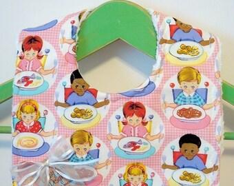 Lets Eat in PInk - Minky Baby Bib
