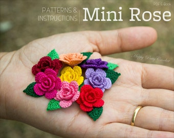 Crochet Pattern - Mini Crochet Flower Pattern - Small Crochet Rose Pattern - Easy Crochet Flower Applique Pattern