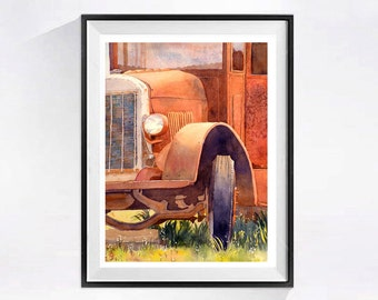 Farm Art Prints Watercolor prints archival rustic old farm painting Country western Rusty farm machine Landscape painting Rusty truck 59 A