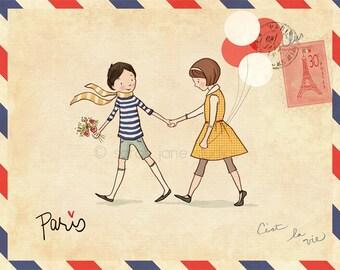 Children's Wall Art Print - Paris - Boy & Girl Kids Nursery Room Decor
