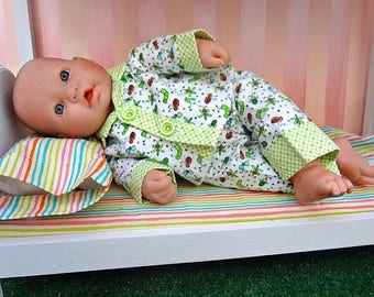 Two Piece Flannel Pajamas - 15 inch Doll Clothing