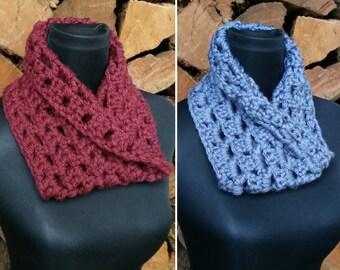 Neck warmer/cowl  in burgundy or denim - infinity scarf, chunky knit crochet, premium acrylic, warm winter scarf