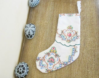 Floral Christmas Stocking Boho Chic - Cross Stitch Doilies Blue Cotton Cream Ornament Shabby - Decor Decoration Homewares For Women Rustic