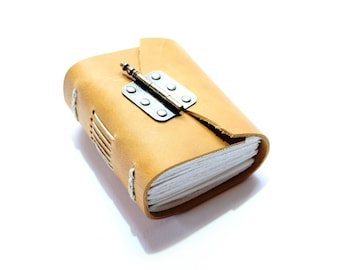 The Honey Journal - Handmade Leather Journal with handtorn white cartridge paper