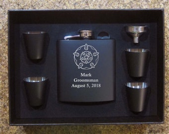 Set of Game of Thrones matte black flask set with shot glasses  Great Groomsman wedding birthday gifts