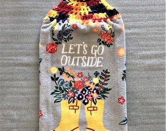 LET'S GO OUTSIDE Extra Plush Double Layer Crochet Towel, galoshes, rain boots, flowers, hanging towel, decorative towel, kitchen towel, gray