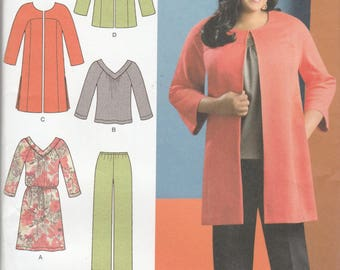 Simplicity 1938 Womens Dress, Tunic Top in Variations Jacket and Pants Size 10,12,14,16,18 UNCUT Khaliah Ali