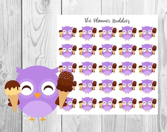 Ollie the Owl, Planner Stickers, Owl Planner Stickers, Summer Themed Planner Stickers, Icecream
