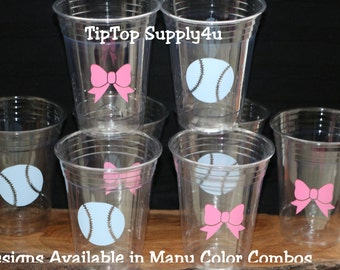 24 baseballs & fancy bows 10 oz. 12 oz. or 16 oz. clear cups. Baby shower, gender reveal, baseball, bow, sprinkle party. B-224 C-155