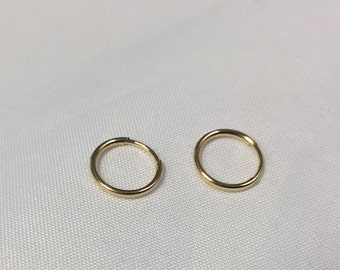 14KT Gold Small Endless hoops