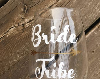 Bride tribe decal/bachelorette Glass Stickers/REUSABLE! BETTER than VINYL/glass cling/custom wine glass labels/bachelorette glass decals