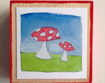 Two Little Mushrooms Tiny Print
