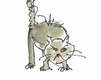 "MEAN CAT...Clipart / Digital Download / 300 dpi/ hi resolution of Original Watercolor . 8""x10"" Great for any application."