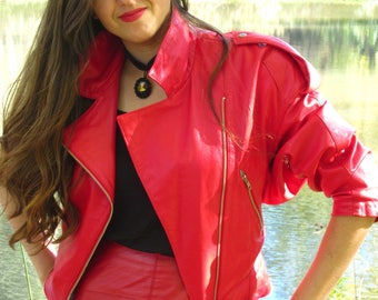 Lambskin Leather Motorcycle Jacket and Matching Skirt