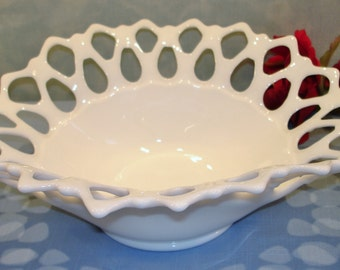 Doric by Westmoreland Open Lace Milk Glass Bowl, 12 inch