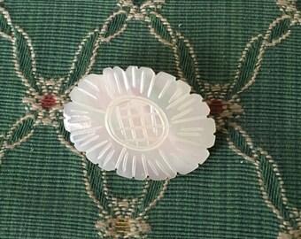 vintage Carved shell brooch