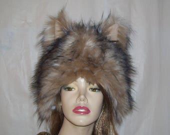 Furry Wolf Hat Ears Brown Blush Black Tipped Wolf-like Fur Adult Halloween Mardi Gras Head Piece  Christmas Gift Hat Furries Costume