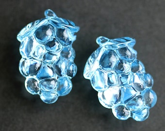 Two (2) Blue Grape Buttons. Bunch of Grapes Blue Buttons. Clear Buttons. Clear Acrylic Buttons. Plastic Buttons. 26mm x 17mm