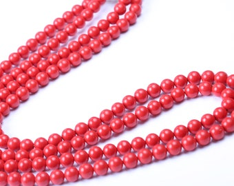 Richelieu Necklace, Red Double Strand, Vintage 1960s