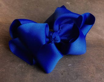 Royal Blue 4 Inch Double Stacked Bow
