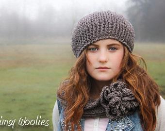 CROCHET HAT PATTERN:  Crochet Beret, Infinity Scarf with Crochet Flower, 'Ciao Bella Beret & Neck Warmer',