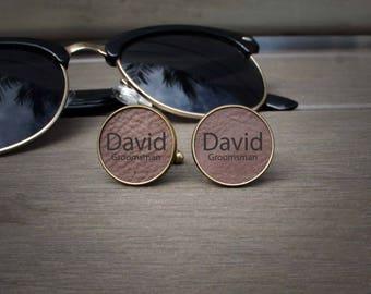 Custom Cuff Links, Custom Wedding Gifts, Wedding Cuff links, Engraved Cuff links, Groomsmen Gift, Custom Groomsmen Gifts --BRCL-DB-DAVID