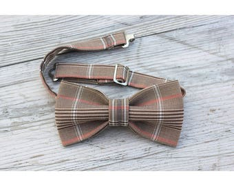 Brown tartan cotton bow tie
