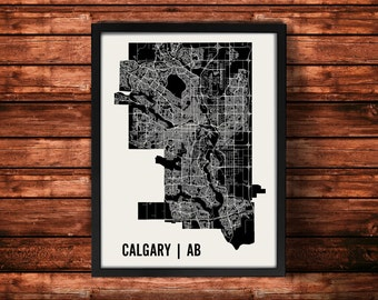 Calgary Map Artwork | Map of Calgary | Calgary Aberta Map | Calgary City Map | Calgary Poster | Calgary Wall Art Print
