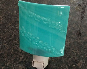 Night Light Wall Plug In, Diagonal Textured Turquoise Blue Art Glass, Modern Design