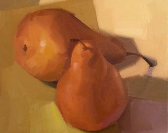 """Art painting still life by Sarah Sedwick """"Brown Pears"""" 8x8 oil on canvas"""