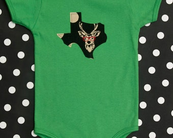 texas baby onesie and tee -- buck with specs, deer with glasses -- choose any state