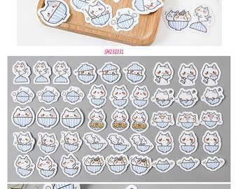 Cat in Bowl Stickers Pack SM232031 45pcs