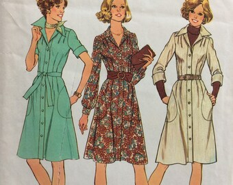Simplicity 7048 misses shirtwaist dress size 8 bust 31 1/2 vintage 1970's sewing pattern