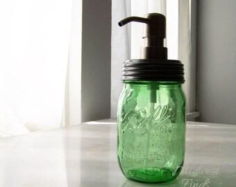 Lime Green Mason Jar Soap or Lotion Dispenser, a modern Ball Mason jar pint with rust fighting metal pump lid