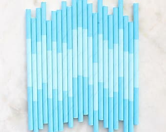 Aqua Paper Cocktail Straws, Two Tone Aqua Paper Straws, Aqua Cake Pop Sticks, Aqua Drinking Straws, Short Paper Straws, Party Straws