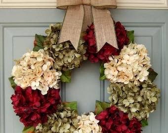 Christmas Wreath - Holiday Wreath - Christmas Hydrangea Wreath