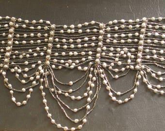 Victorian Beaded Dog Collar Choker Necklace, Gothic, Vampire!
