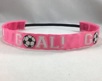 Non Slip Headband; EmBands - Pink GOAL! Non-Slip Headband; Soccer Headband; Sports Headband; Girl Headband; No Slip Headband; Soccer Ball