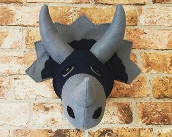 Handmade Faux Taxidermy Dinosaur Head - Triceratops Dino - Boys Girls Bedroom - Nursery Decor - Dinosaurs Theme - Stuffed Animal