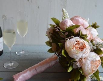 Faux Peony Wedding Bouquet