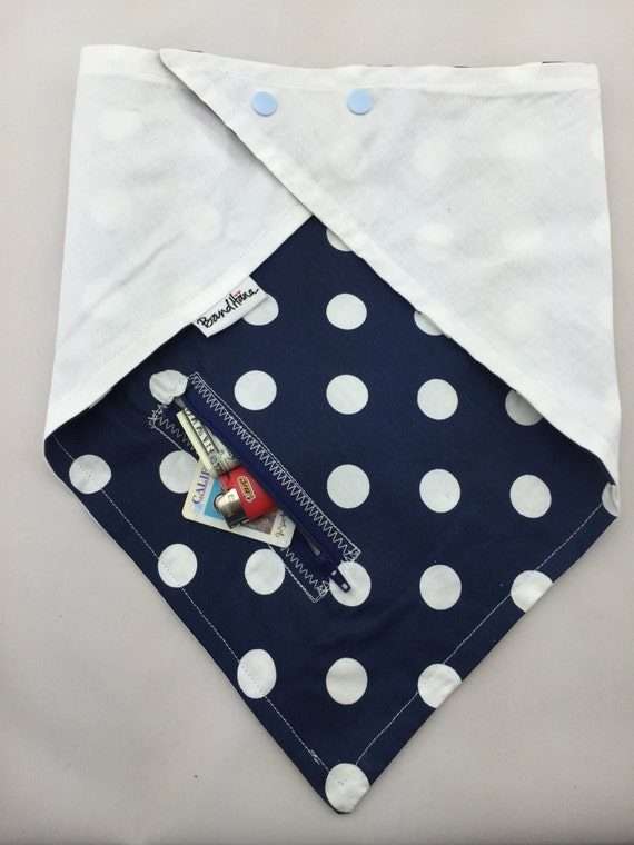 So Fresh/So Clean: White Polka dots on Navy Blue Cotton & White Cotton Reversible Bandana with Zippered Pocket by BandHäna