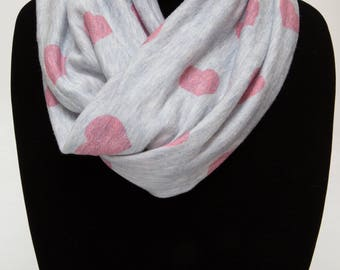 Infinity Scarf (THIN) - Pink Hearts On Heathered Gray