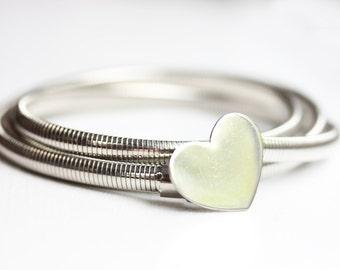 Silver Heart Coil Belt - M