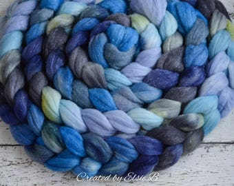 Merino/ Silver Sparkle 'Dancing in the Rain' 4 oz blue spinning fiber, Created by ElsieB green hand dyed roving, silver stellina combed top