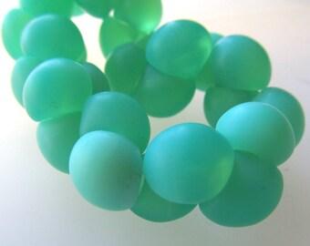 Czech Glass Beads 9 X 8mm Smooth Matte Mint Green Buttons - 30 Pieces