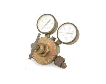 Industrial Salvage, Harris Regulator, Acetylene Regulator, Double Gauge, Vintage Gauge, Industrial Decor, Vintage Brass, Industrial Gauge
