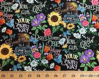 Sunflower Tulip Daisy Butterfly Floral Bouquet Garden 100% Cotton Fabric t1/14