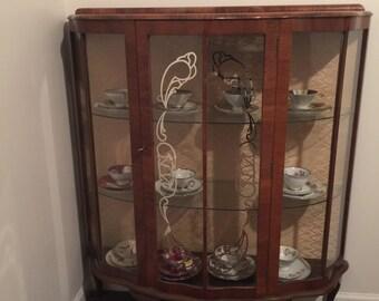 Vintage Walnut Curio Cabinet English 1940s ~ Vintage Curio Cabinet
