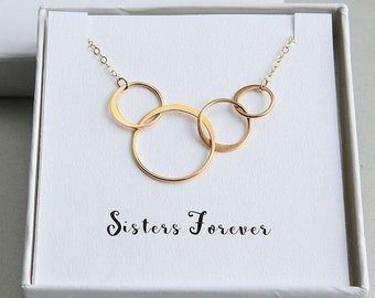 Four Sisters Necklace, Sisters Necklace, Gift for Sisters, Sister Necklace, 4 Rings Necklace, Gold Ring Necklace, Sisters Forever Necklace