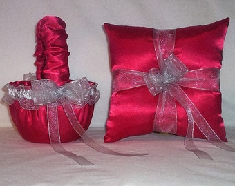 Red Satin With Silver Ribbon Trim  Flower Girl Basket And Ring Bearer Pillow Set 4